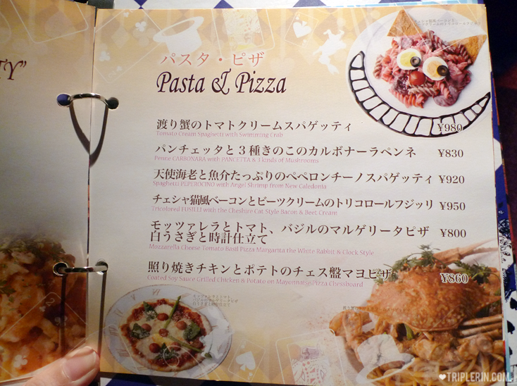 The chesire cat... Teehee. Menu has English (very light pink in the photo) so no need to worry! Anyway, the worst case is just point to photos or other people's plates and order lol.