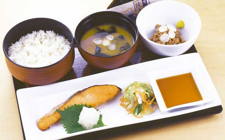 Image result for White rice, fish, miso soup and natto (fermented beans)